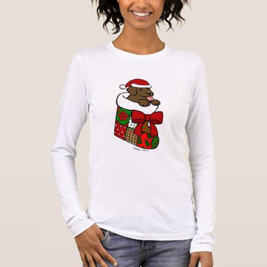 Santa Stocking Chocolate Labrador Puppy Cartoon Long Sleeve T-Shirt