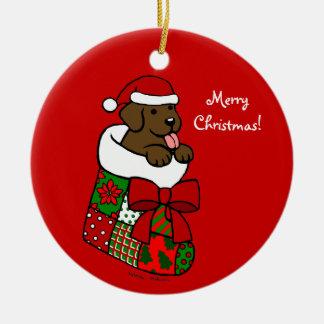 Santa Stocking Chocolate Labrador Puppy Cartoon Ornament