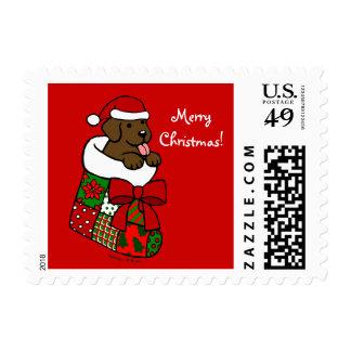 Santa Stocking Chocolate Labrador Puppy Cartoon Postage Stamps