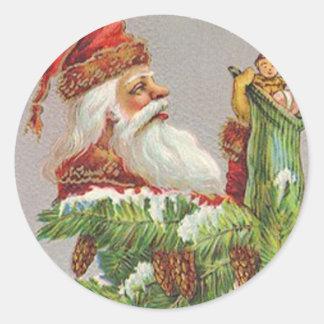 Santa Stocking Classic Round Sticker