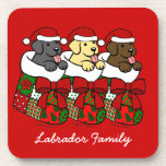 Santa Stocking Labrador Puppies Cartoon Coasters
