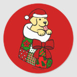 Santa Stocking Yellow Labrador Puppy Cartoon Classic Round Sticker
