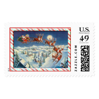 SANTA & STRIPED BORDER by SHARONSHAPRE Postage