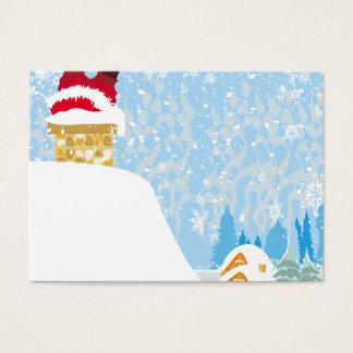 santa stuck in chimney business card