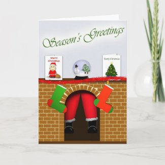 Santa stuck in Chimney Christmas Card card