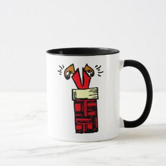 santa stuck in chimney  Christmas mugs