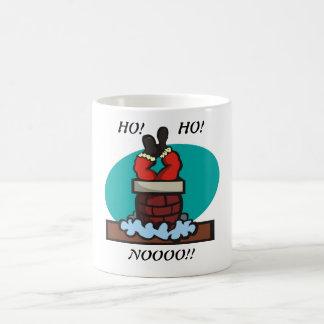Santa stuck in chimney coffee mug