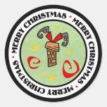 Santa Stuck in Chimney Round Sticker