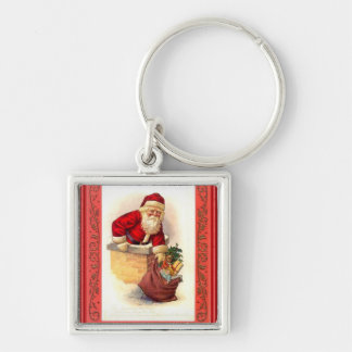 Santa stuck in the chimney Silver-Colored square keychain
