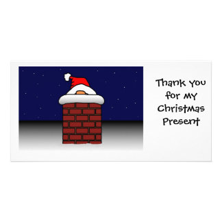 Santa Stuck Thanks Personalized Photo Card
