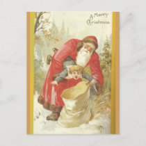 Santa Stuffing Naughty Boy in a Sack Holiday Postcard