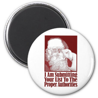 Santa, su lista del navidad, y las autoridades imán redondo 5 cm