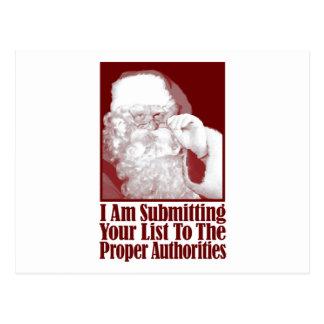 Santa, su lista del navidad, y las autoridades postal