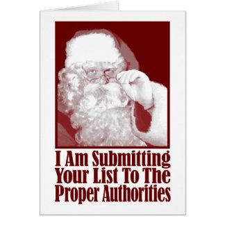 Santa su lista del navidad y las autoridades tarjetón