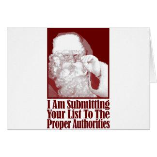 Santa, su lista del navidad, y las autoridades tarjeta de felicitación