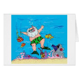 Santa subacuático tarjeta de felicitación