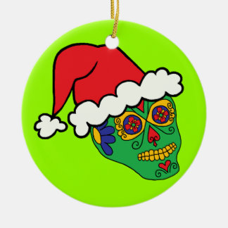 Santa Sugar Skull Christmas Ornament