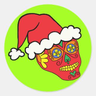 Santa Sugar Skull Classic Round Sticker