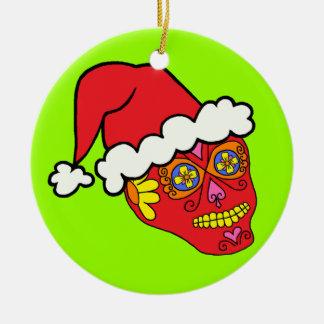 Santa Sugar Skull Ornament