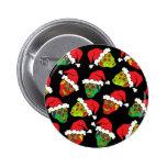 Santa Sugar Skull Pinback Buttons
