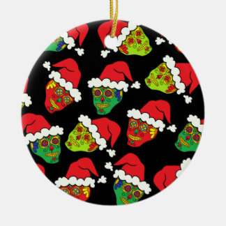 Santa Sugar Skulls Christmas Ornament