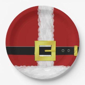 Santa Suit 9 Inch Paper Plate
