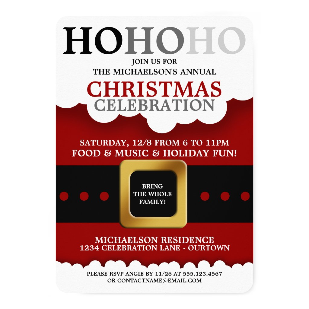Santa Suit Christmas Party Invitations