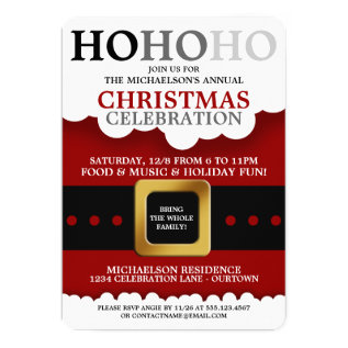 Santa Suit Christmas Party Invitations at Zazzle