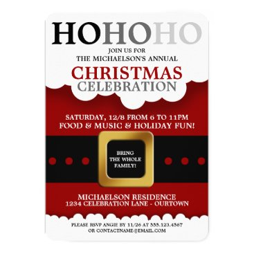 Christmas Themed Santa Suit Christmas Party Invitations