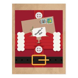 Santa Suit Naughty or Nice Christmas Postcard