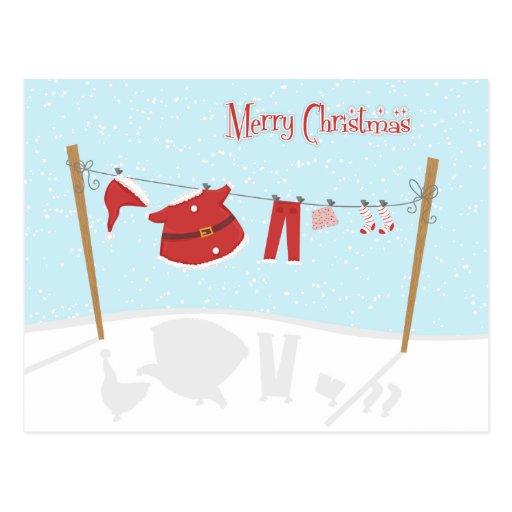 Santa Suit on Clothesline Christmas Postcard