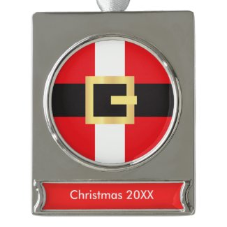 Santa Suit Silver Plated Banner Ornament