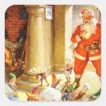 Santa supervisa duendes el cocer de las galletas d calcomania cuadrada personalizada