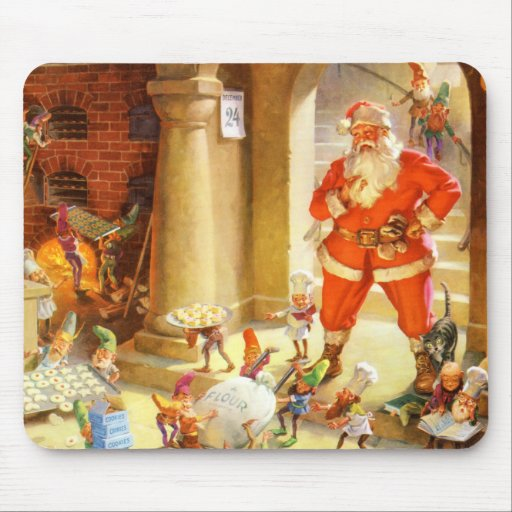 Santa supervisa duendes el cocer de las galletas d alfombrilla de ratón