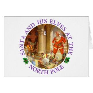 Santa supervisa duendes el cocer de las galletas d tarjeta de felicitación