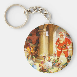 Santa Supervise Elves Baking Christmas Cookies Keychain