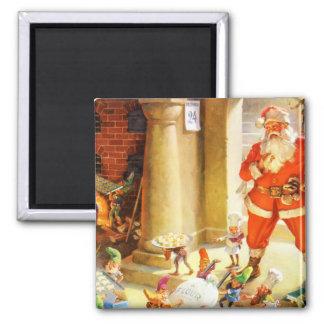Santa Supervise Elves Baking Christmas Cookies Magnet