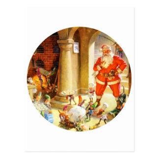 Santa Supervise Elves Baking Christmas Cookies Postcard