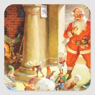 Santa Supervise Elves Baking Christmas Cookies Square Sticker