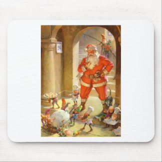 Santa Supervises Elves Baking Christmas Cookies Mouse Pad