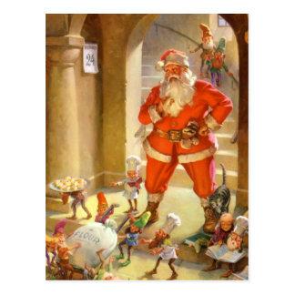Santa Supervises Elves Baking Christmas Cookies Postcard