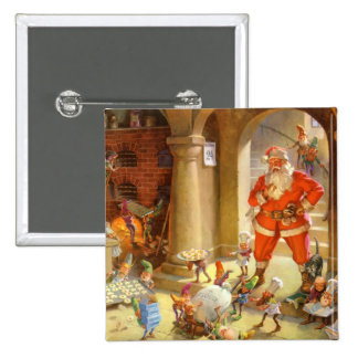Santa Supervises his Elves Baking Christmas Cookie Button