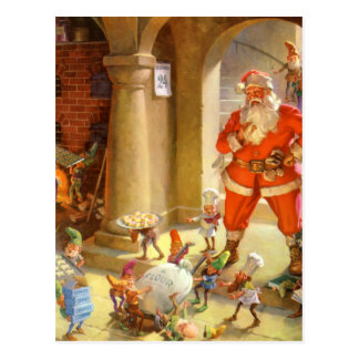Santa Supervises his Elves Baking Christmas Cookie Postcard