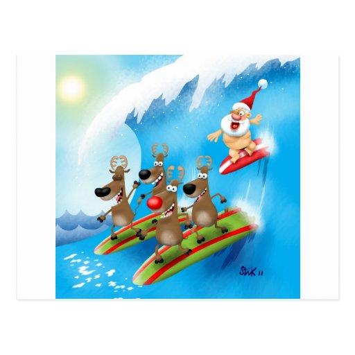 Santa Surfin' Post Cards