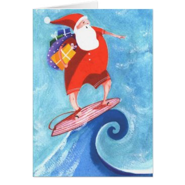 Christmas Themed Santa Surfing christmas card