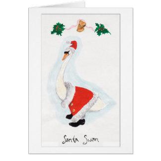 Santa Swan Christmas Card