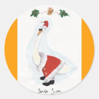 Santa Swan Classic Round Sticker
