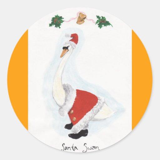 Santa Swan Round Sticker