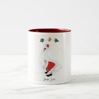 Santa Swan Two-Tone Coffee Mug