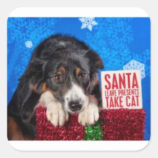 Santa take cat square sticker